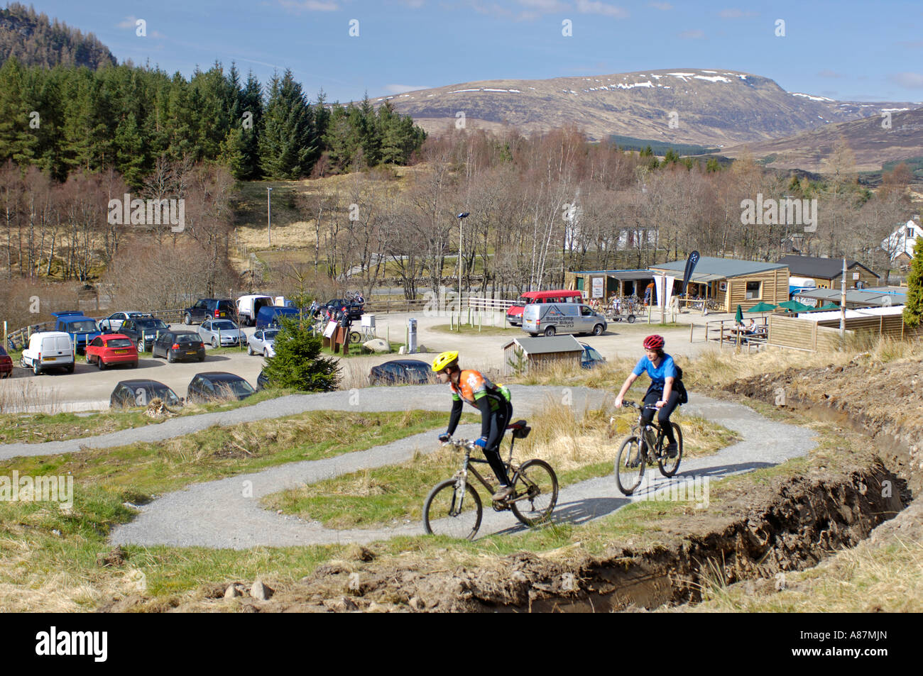 Mountain Biking Centre Wolftrax Base Camp Stock Photo