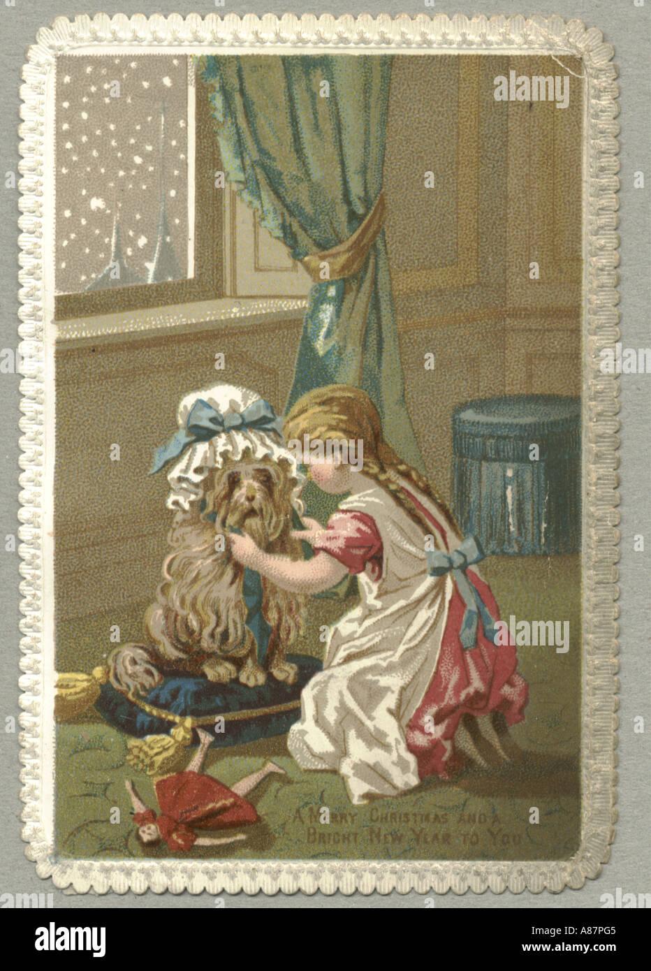Christmas Greeting Card Of Child With Dog Circa 1870 Stock Photo