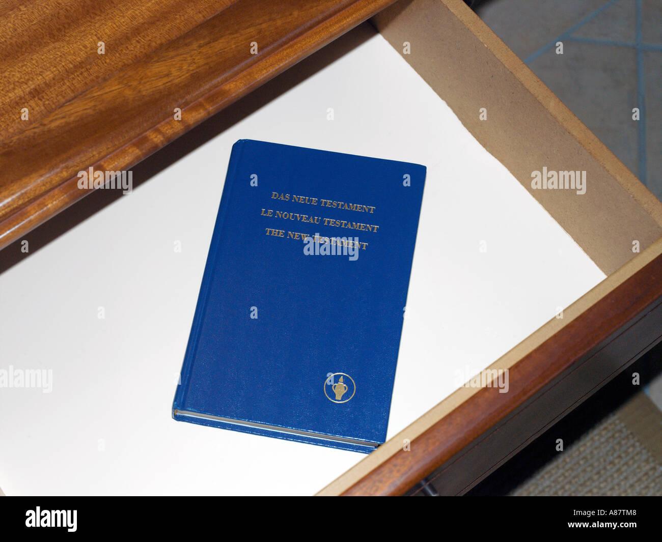 Balaclava Mauritius Gideon Bible in Drawer in Hotel Maritim Bedroom - Stock Image