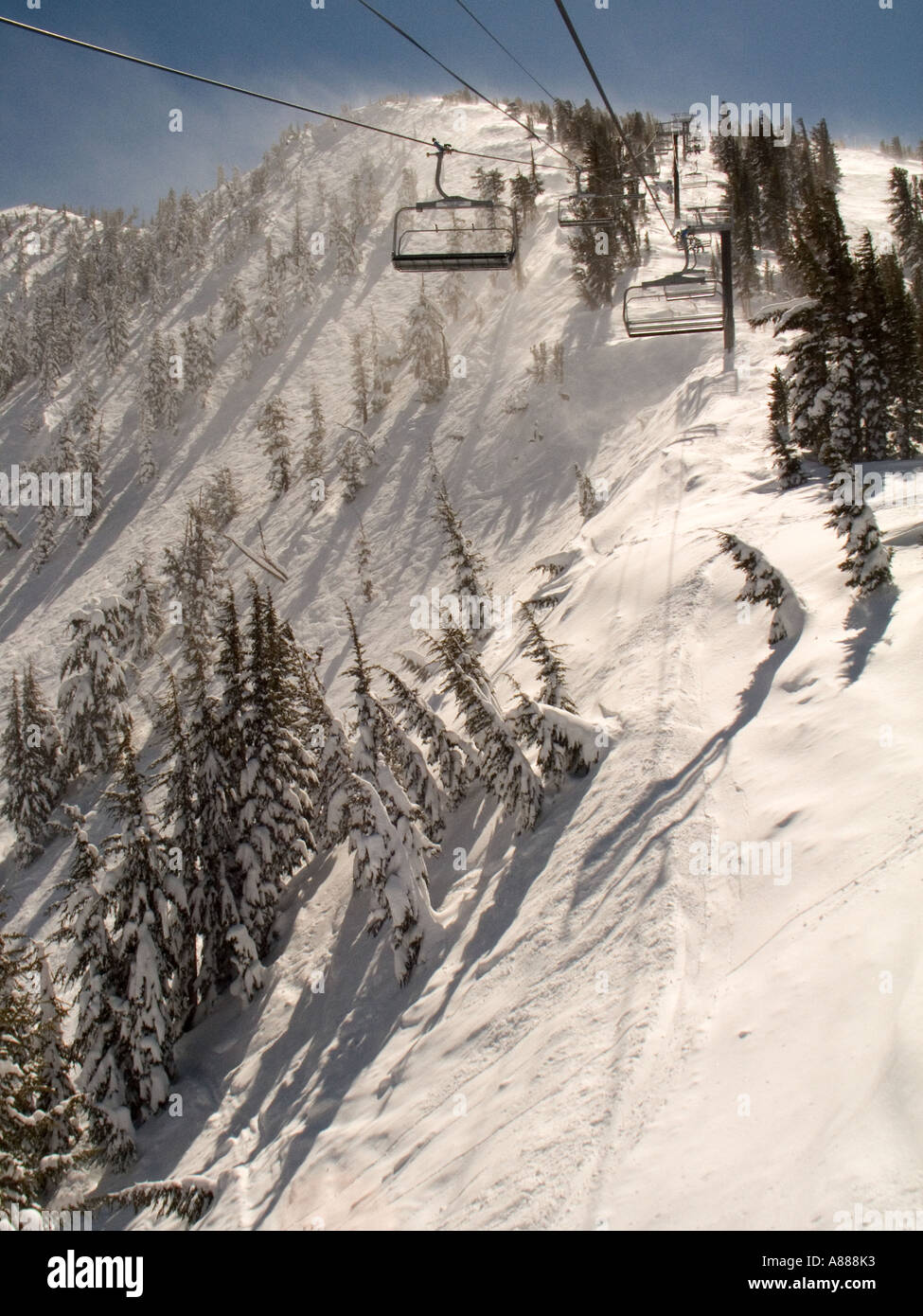 A view of the Chutes at Mt Rose Ski Area from the lift Mt Rose is located in the Sierras near Reno Nevada Stock Photo