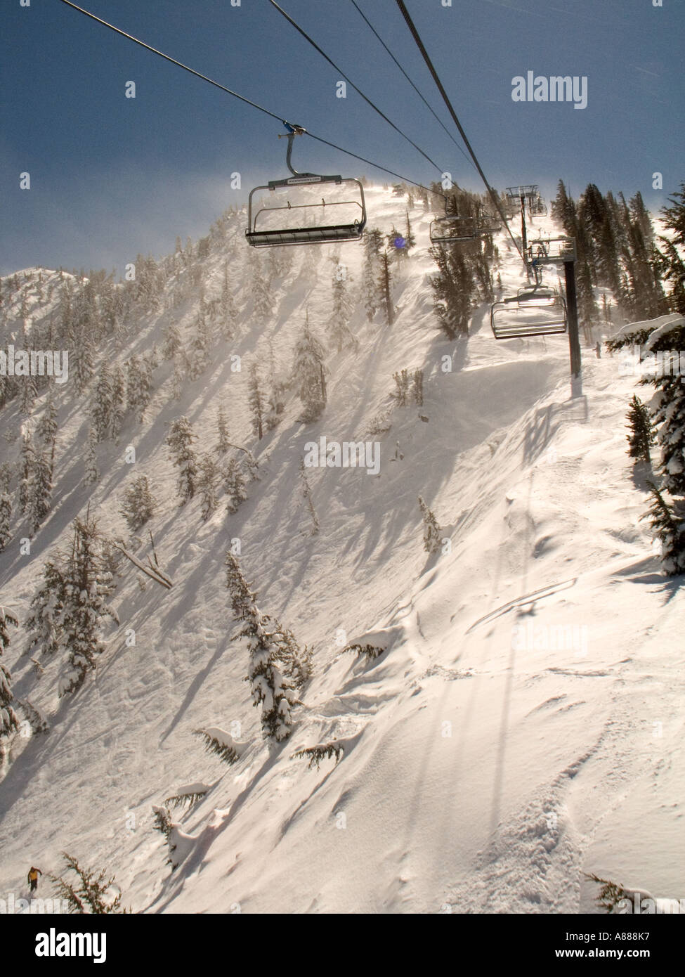 A view of the Chutes from the ski lift at Mt Rose Ski Area in the Sierras near Reno Nevada Stock Photo