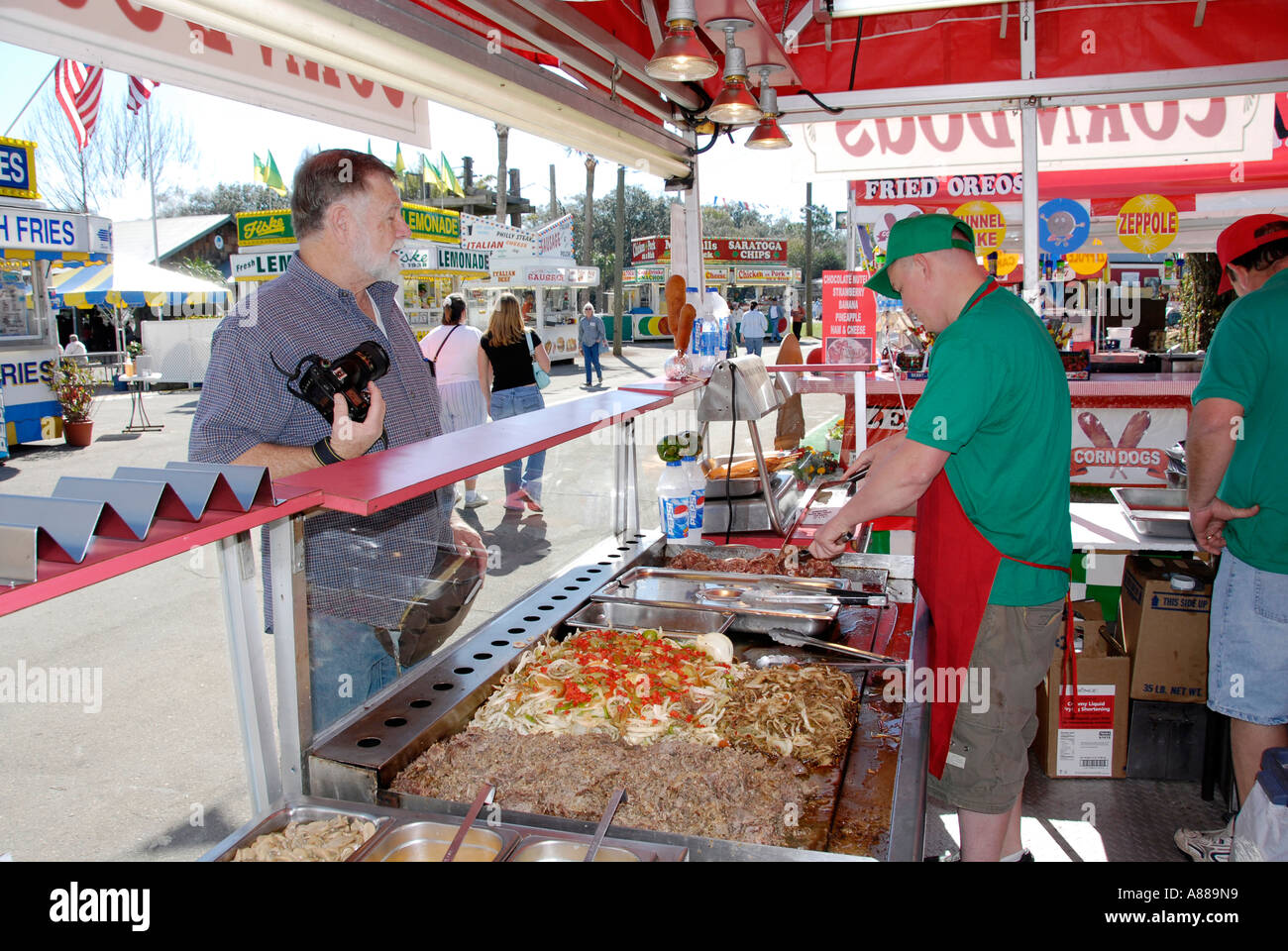 Food eating establishments at the Florida State Fair - Stock Image