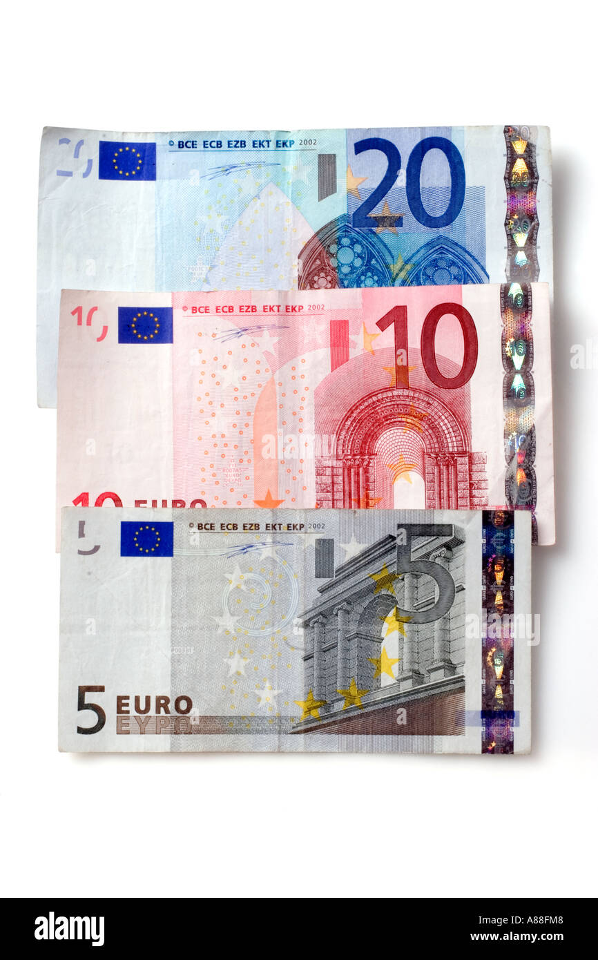 Hoekbank Twenty 5.European Currency 5 10 And 20 Euro Bank Notes Stock Photo