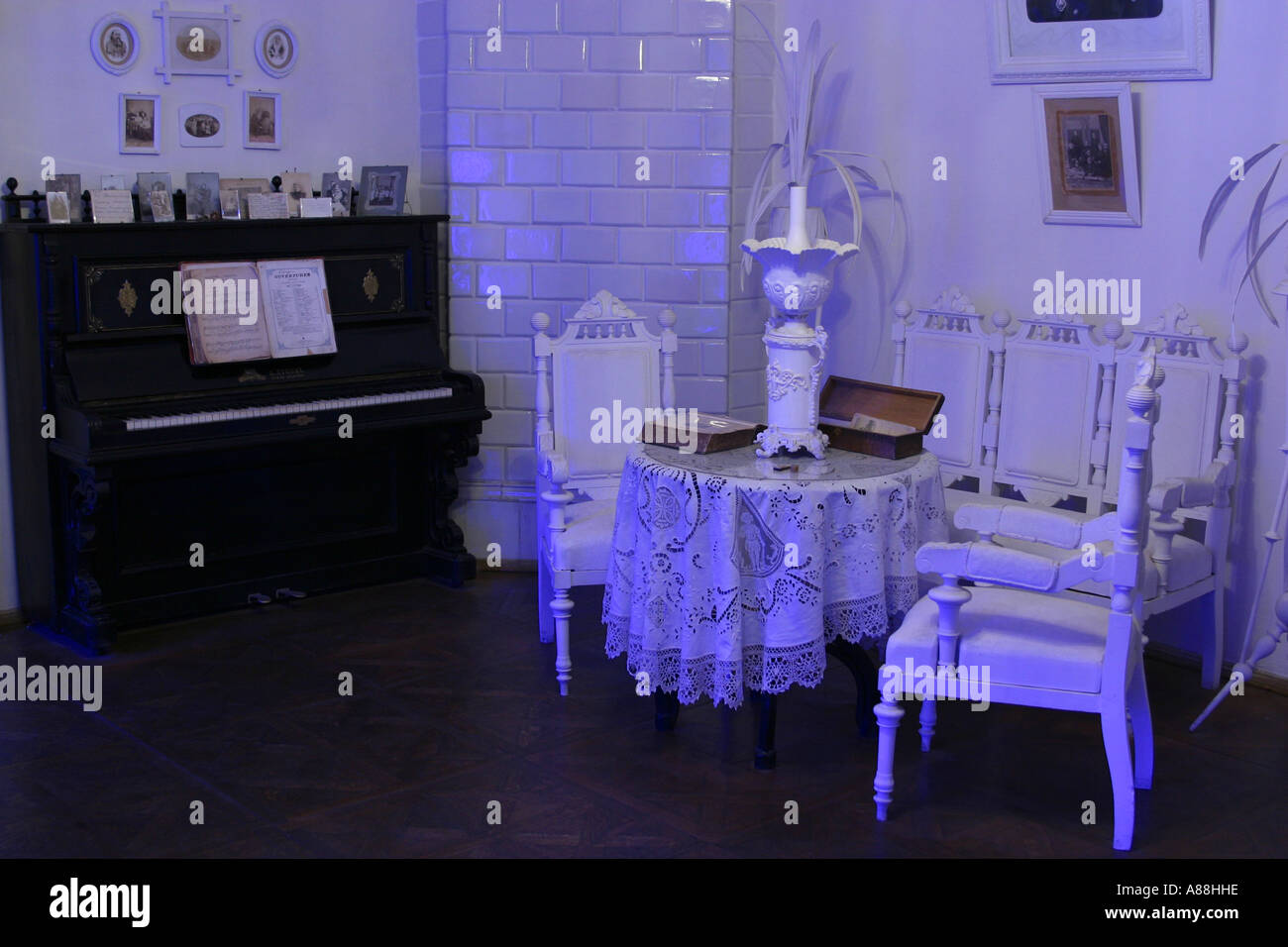 Living room in the museum of the novelist and playwright Mikhail Bulgakov at Andriyivsky Uzviz (Andrew's Desent), Kiev, Ukraine - Stock Image