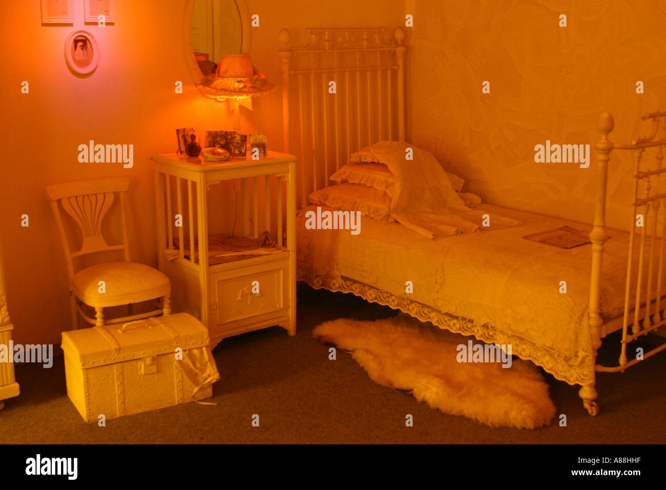 Bedroom in the house of Turbiny, now the museum of the  writer Michael Bulgakov at Andriyivsky Uzviz (Andrew's Desent) in Kiev - Stock Image