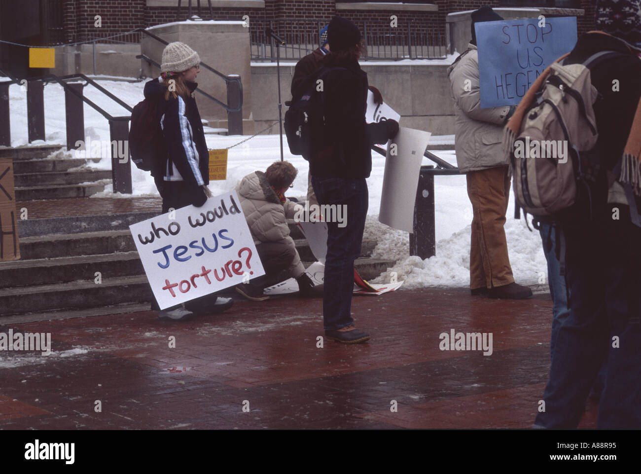 Anti Bush demonstrators - Stock Image