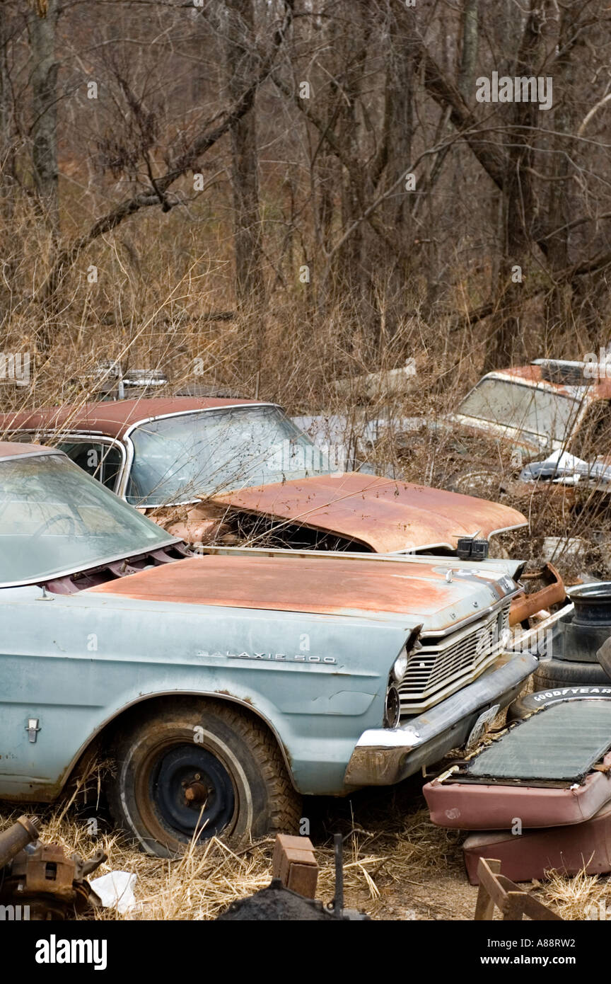 Line of old Cars at Sonnys Junk Yard, Blaine, Tennessee Stock Photo ...