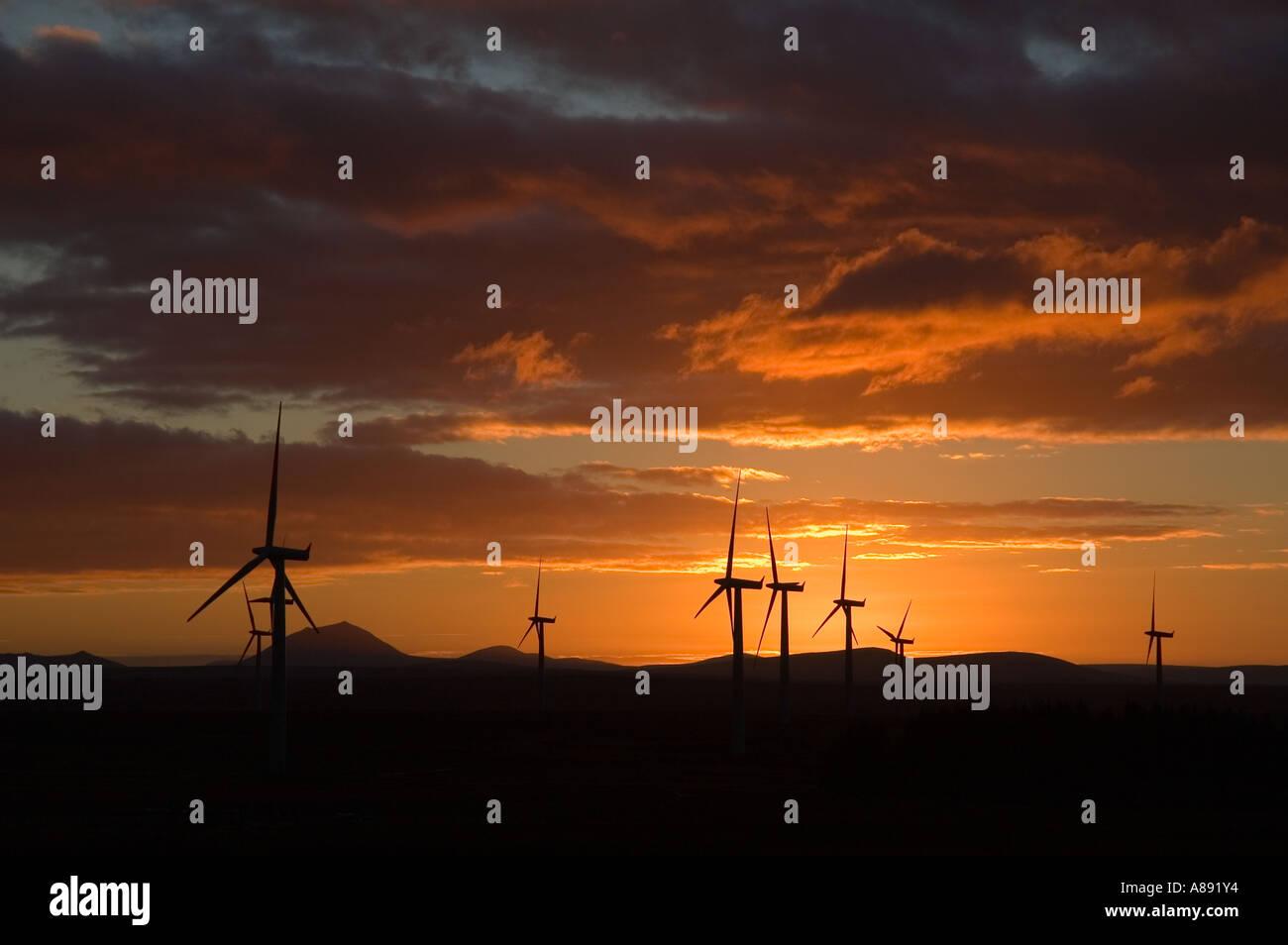 Causeymire wind farm at sunset, Caithness, Scotland, UK Stock Photo