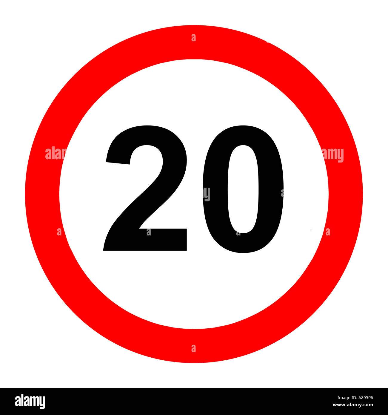 Twenty (20) miles per hour speed limit road sign on white background ...