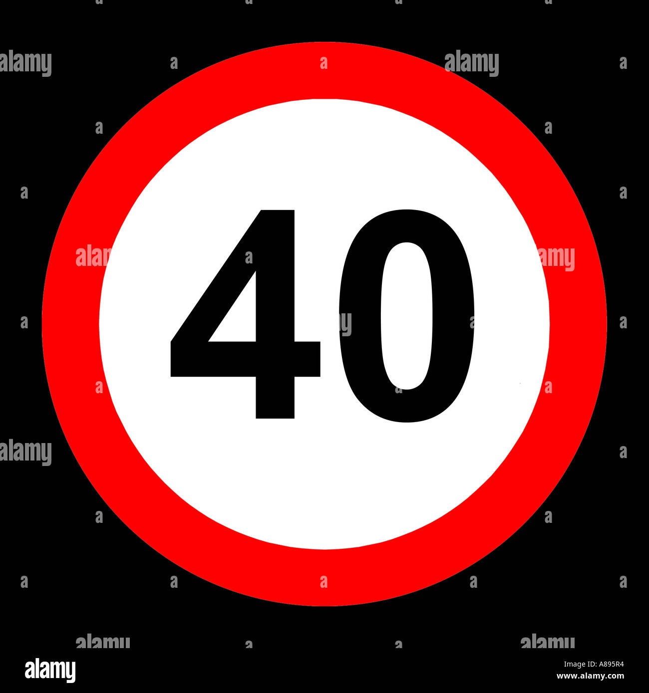 Forty (40) miles per hour speed limit road sign on black background - Stock Image