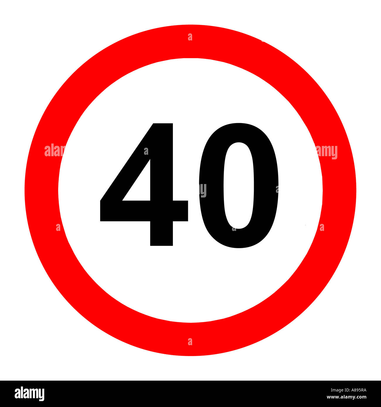 Forty (40) miles per hour speed limit road sign on white background - Stock Image