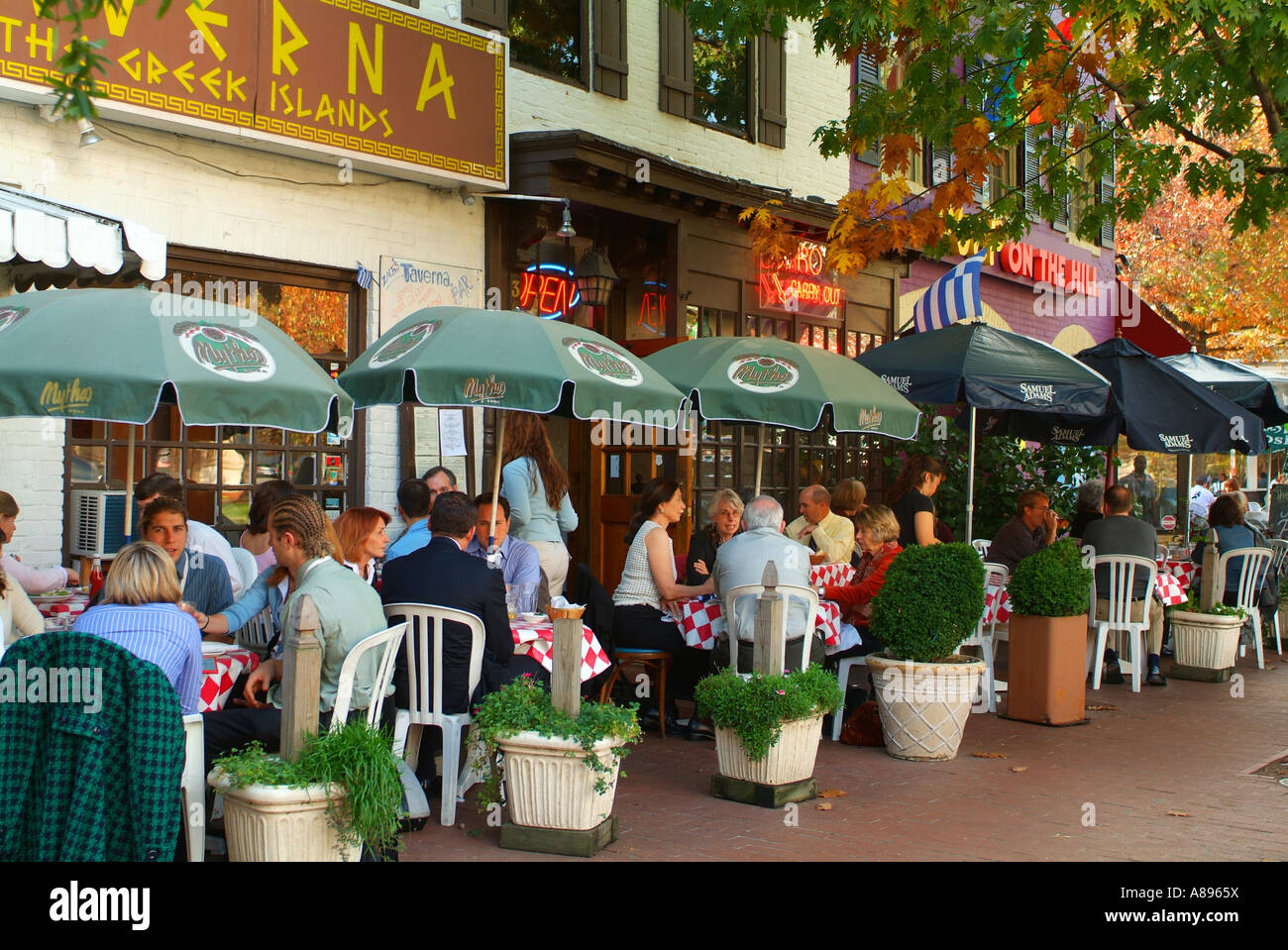 People Dining Outdoors At Taverna On Pennsylvania Avenue