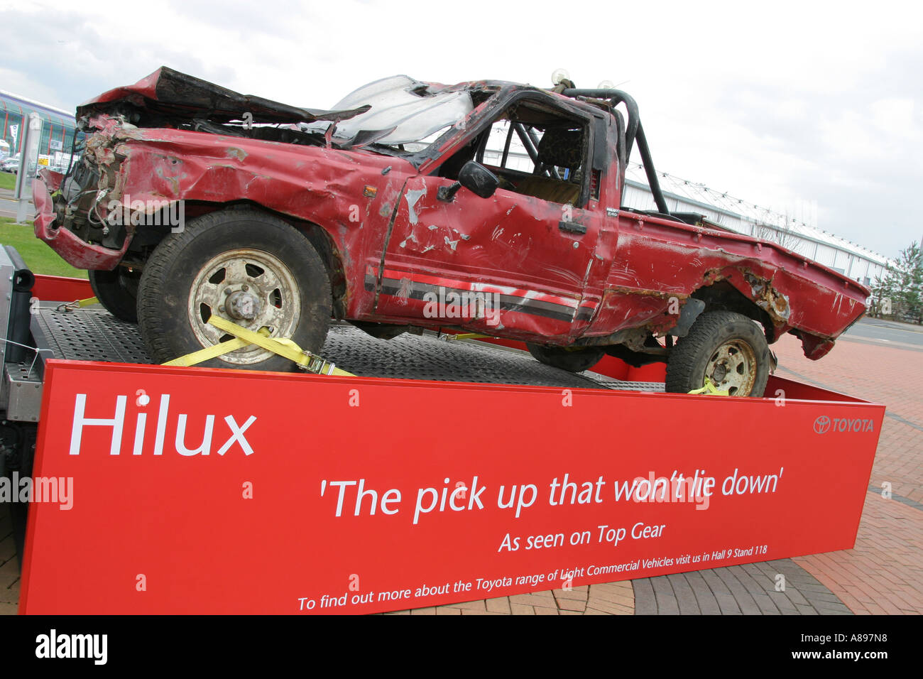 Toyota Hilux as demolished on the BBC television program 'Top Gear'. UK. Shown at the NEC Commercial Vehicle Show. - Stock Image