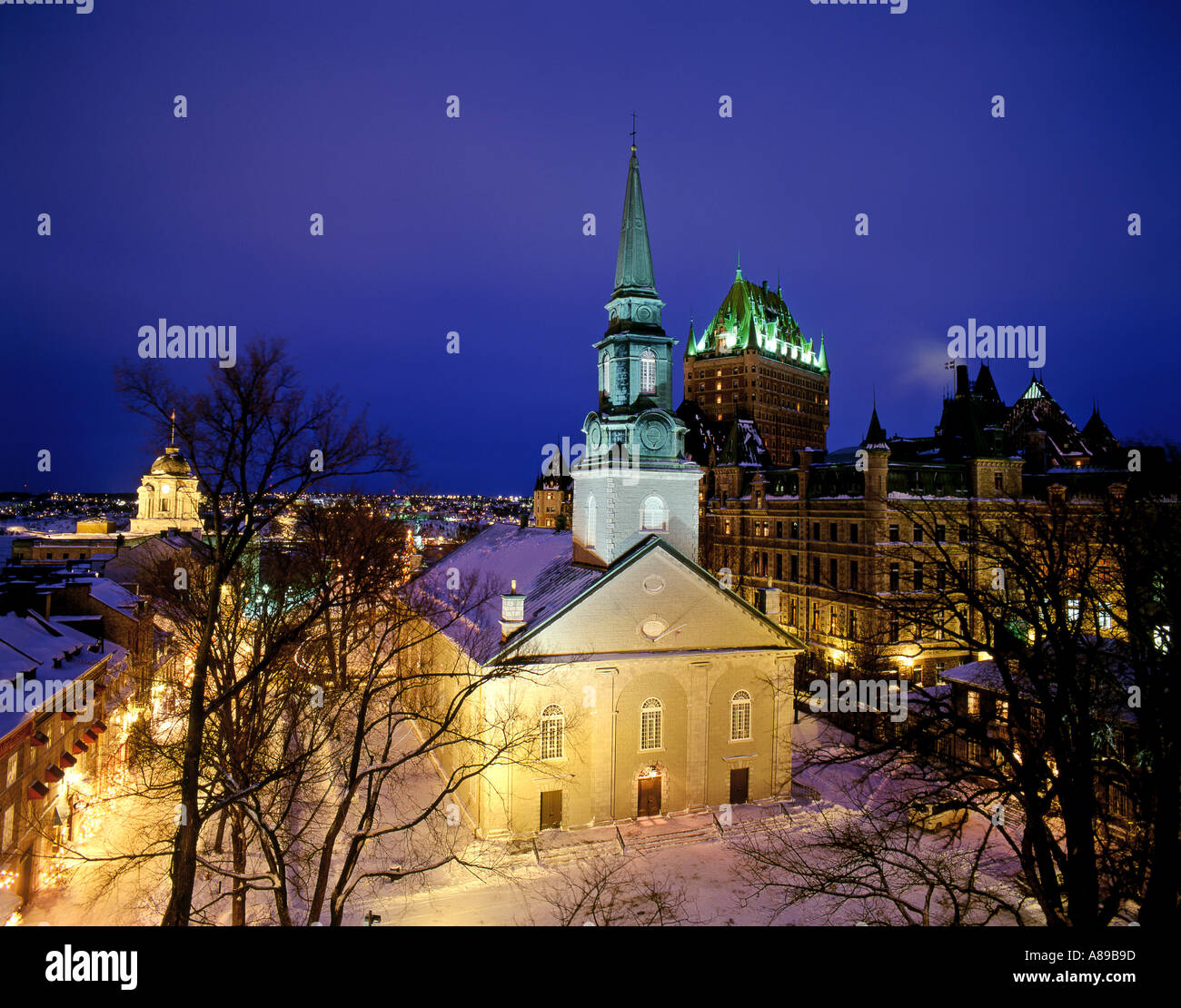 Canada Quebec Quebec City Cathedrale Anglicane and the Chateau Frontenac in winter Stock Photo