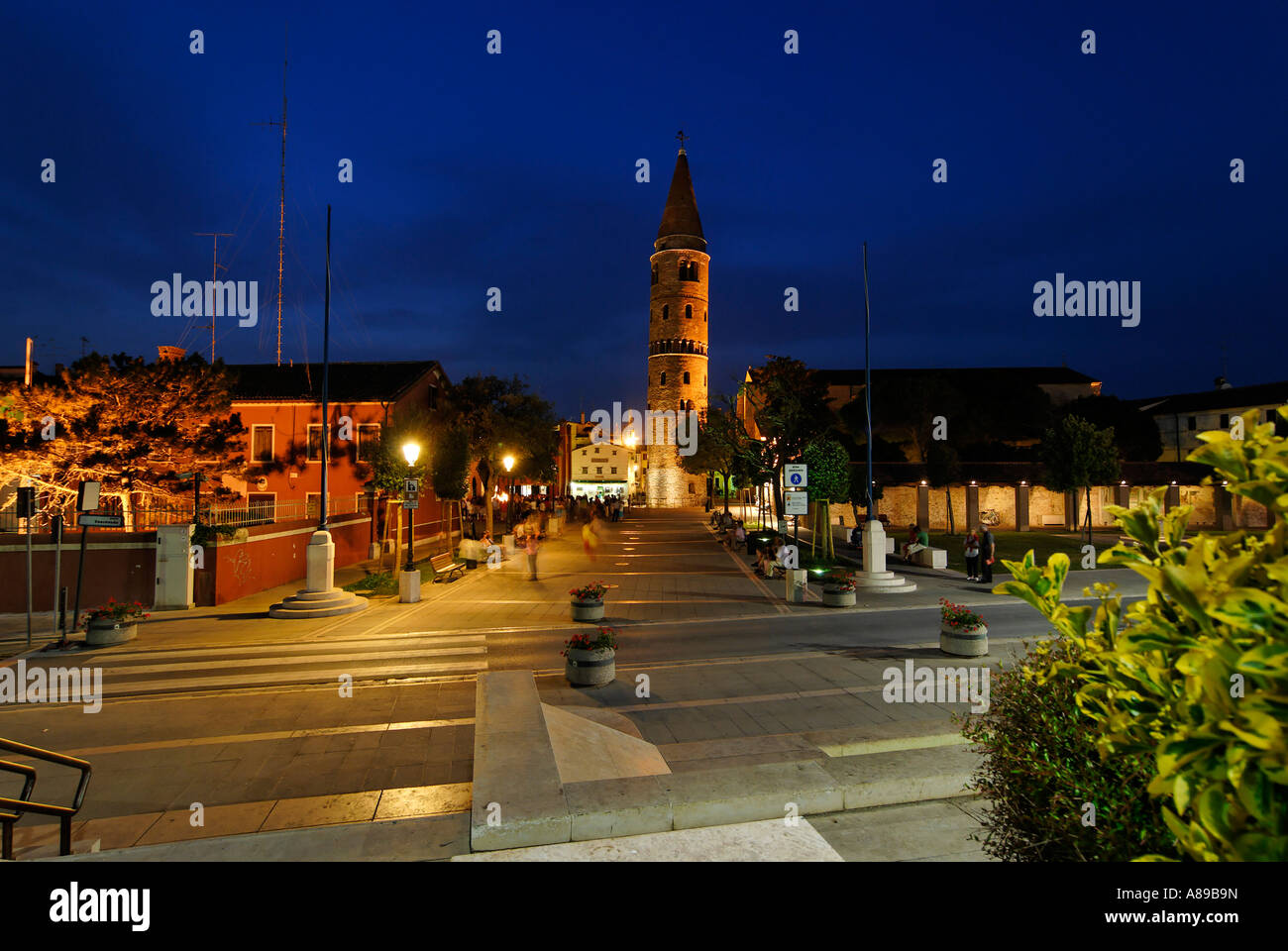 Caorle at the Adria region Veneto Italy chathedral with church tower Stock Photo