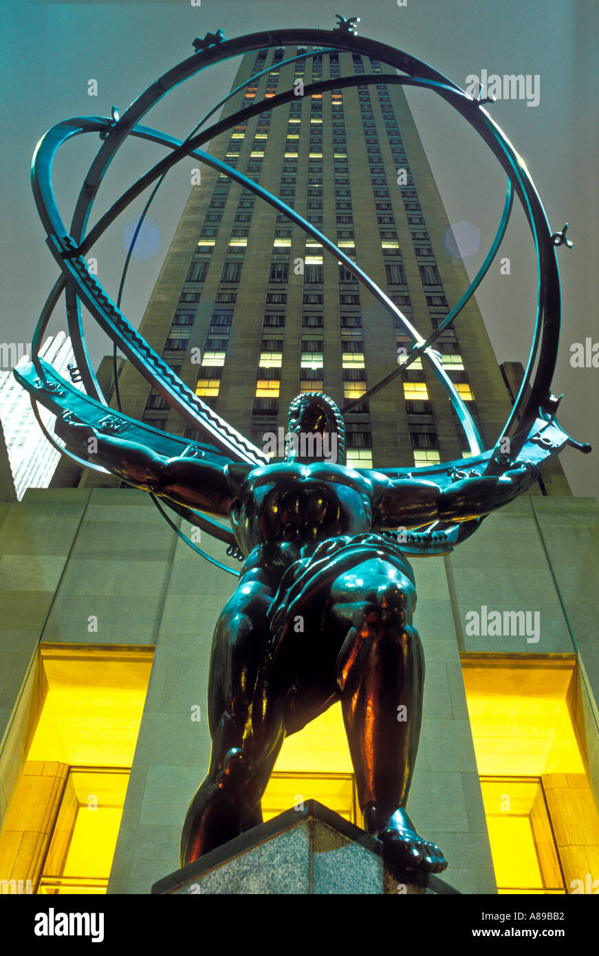 USA New York New York City Rockefeller Center Statue of Atlas - Stock Image
