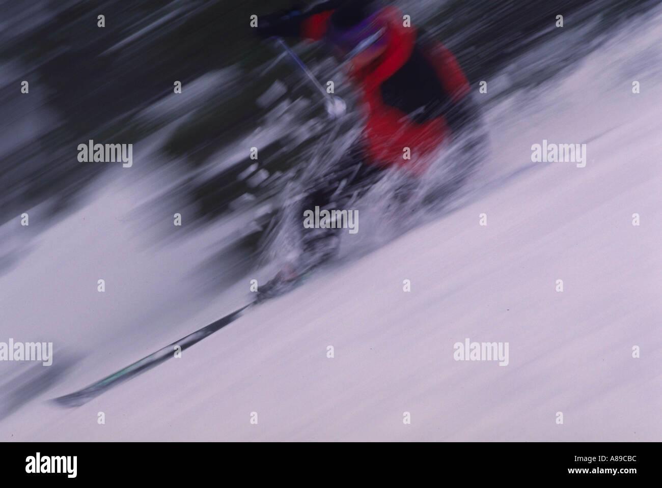 Blurred skiier Mt Hood Meadows - Stock Image