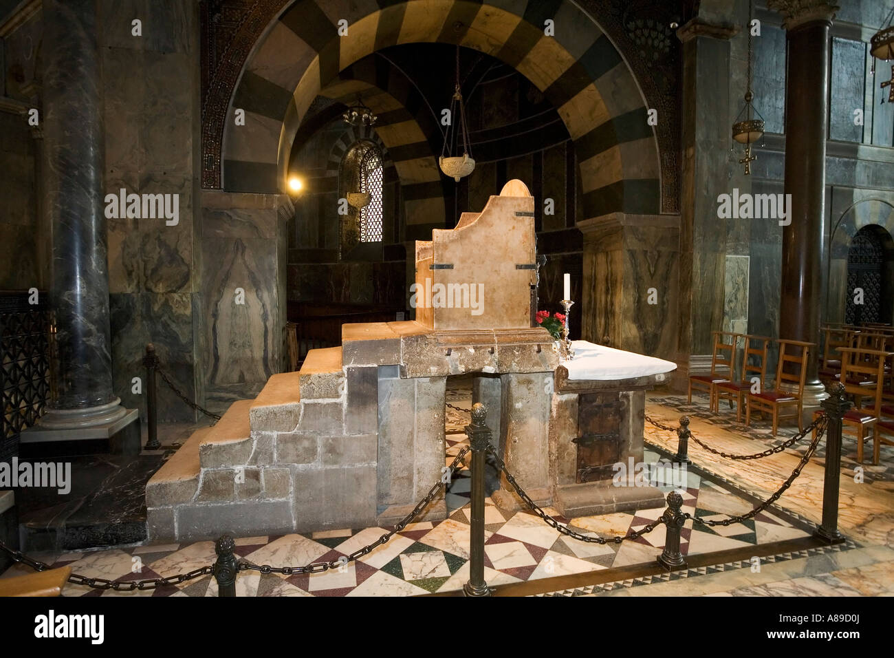 Aachen cathedral, throne of Charlemagne, Aachen, NRW, Germany - Stock Image