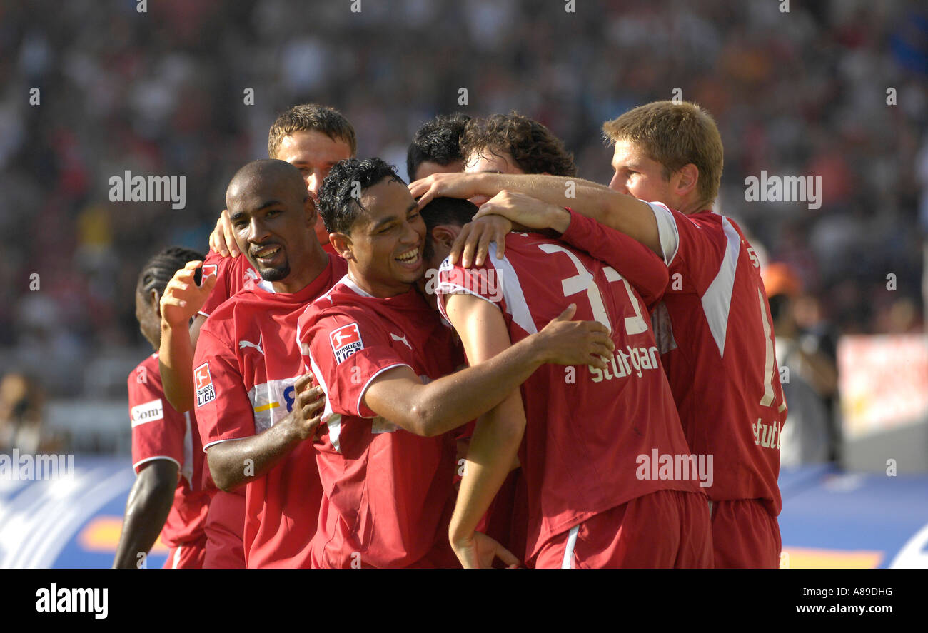 VfB Stuttgart players cheer after goal of Mario GOMEZ - Stock Image