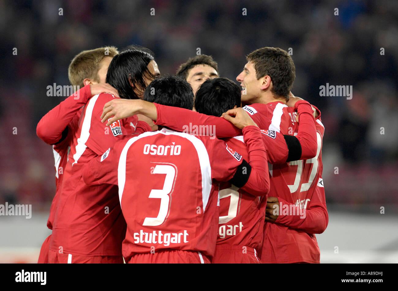 VfB Stuttgart players cheer after goal Stock Photo