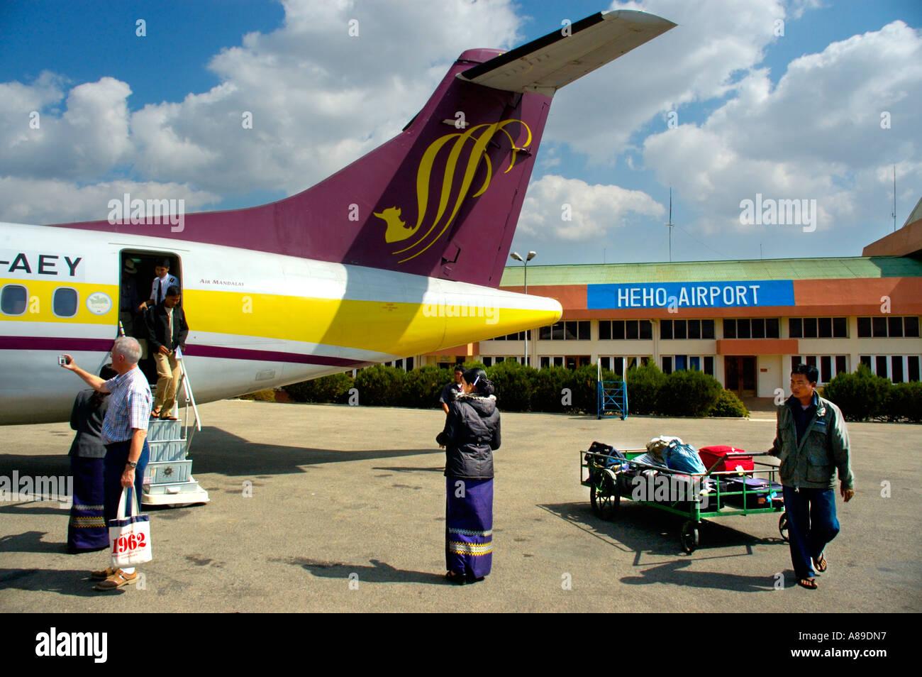 Back of the airplane of Air Mandalay at Heho Airport Burma - Stock Image