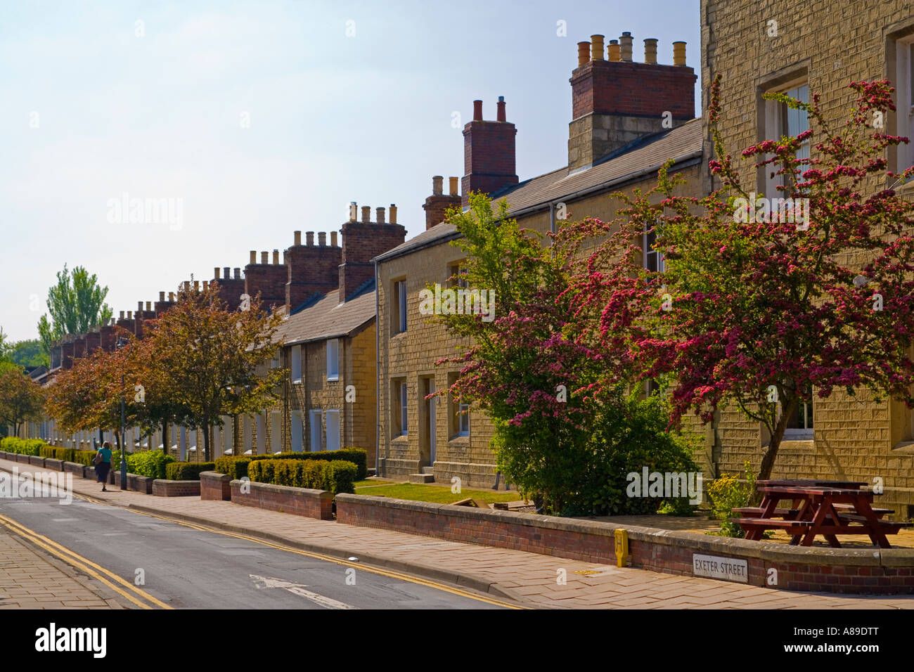 Exeter Street in the Great Western Railway village Swindon workers houses built with stone from the Box Tunnel near Stock Photo