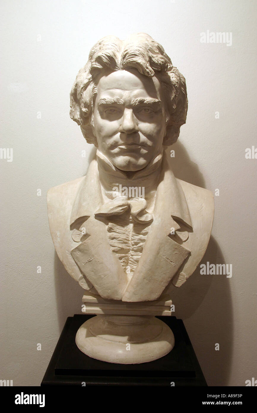 The bust of Ludwig van Beethoven in his mothers house in Koblenz, Rhineland-Palatinate, Germany - Stock Image