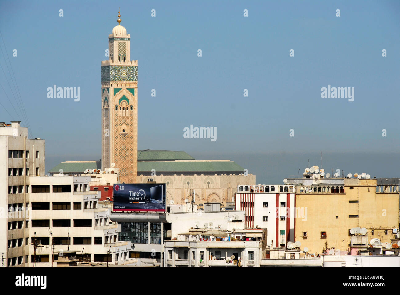 View of the city and minaret of mosque Hassan II Cacablanca Morocco Stock Photo