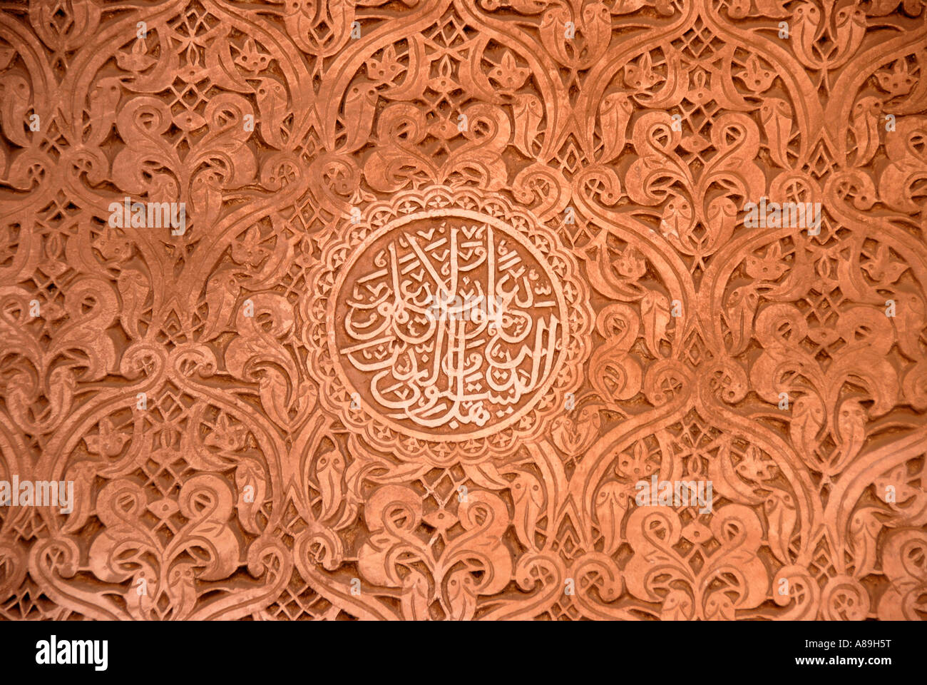 Oriental decorated stucco detail with script of Quran Saadien tombs Marrakech Morocco - Stock Image