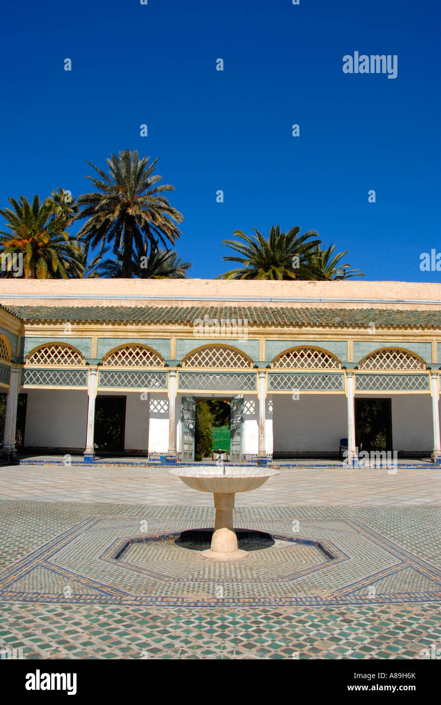 Yard with fountain Palais de la Bahia Marrakech Morocco - Stock Image