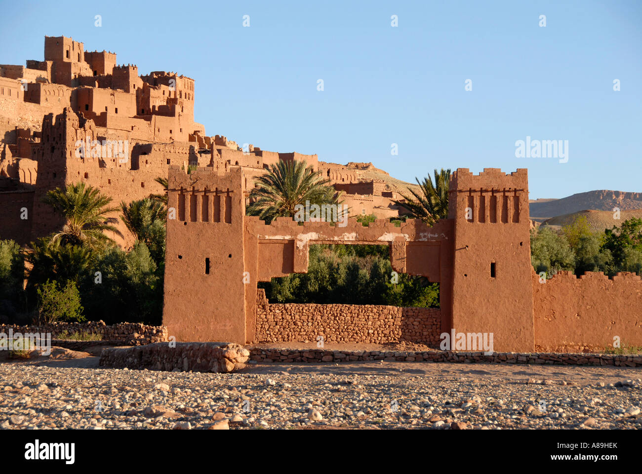 Gate traditional Berber architecture Kasbah Ait Benhaddou Morocco Stock Photo