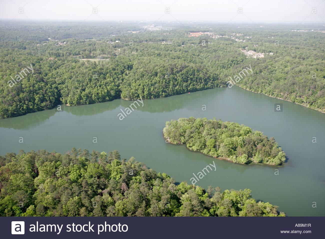 Tuscaloosa Alabama Lake Harris island aerial - Stock Image