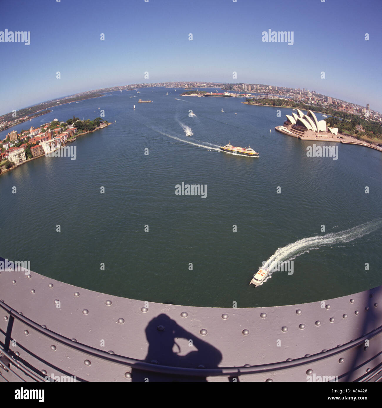 View over Sydney harbour Port Jackson with Fort Denison island from top of iron girder framework of the Harbour Bridge Australia - Stock Image