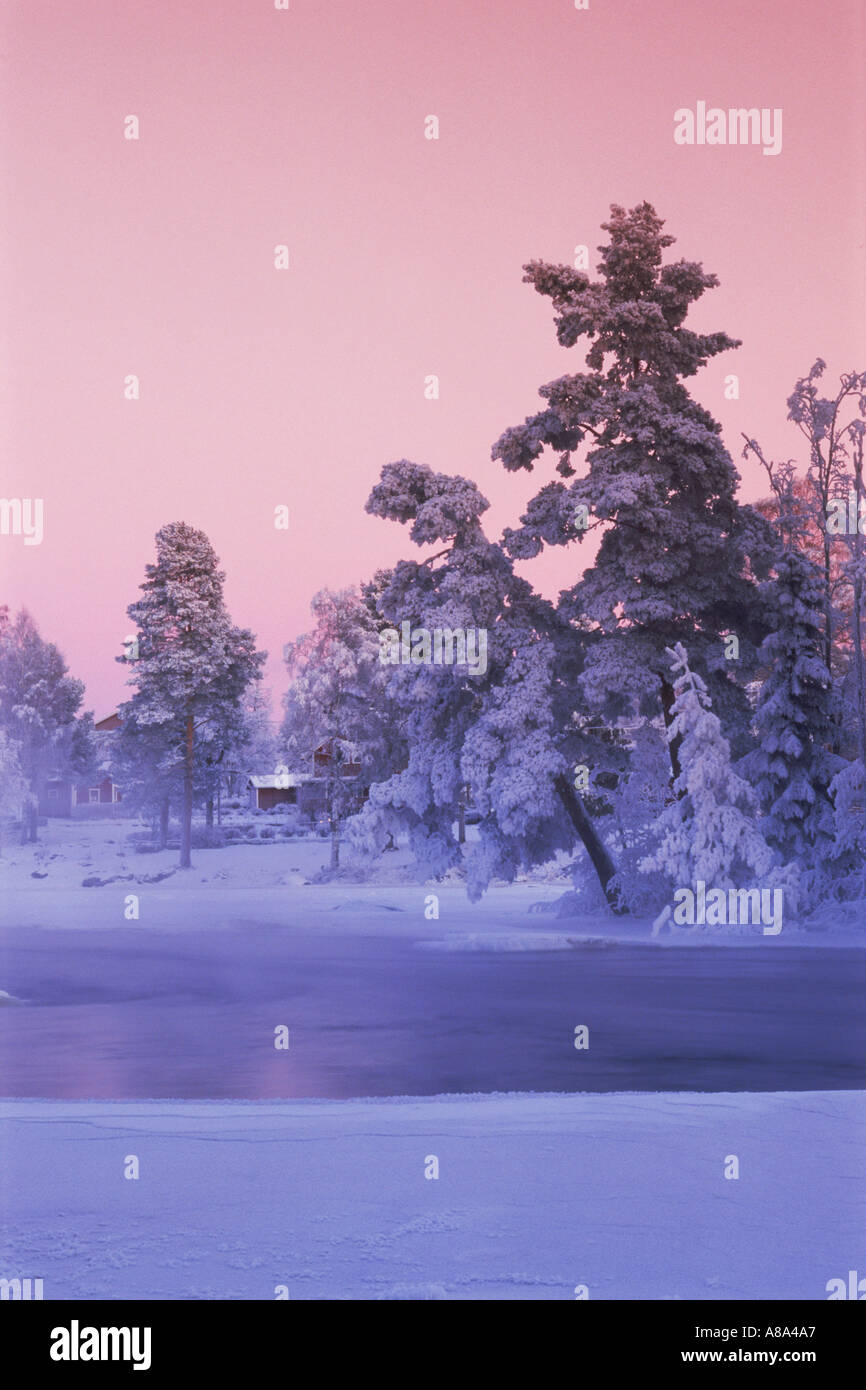 Frosty day along Dal River in Dalarna Province of Swedish in low winter light - Stock Image