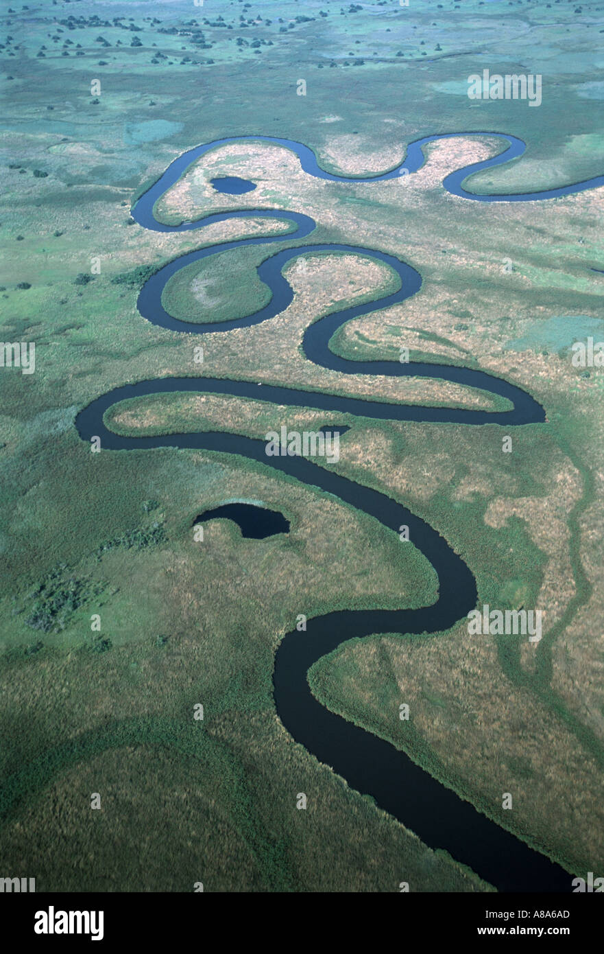 Botswana Aerial of river channel through the Okavango delta Botswana Africa - Stock Image