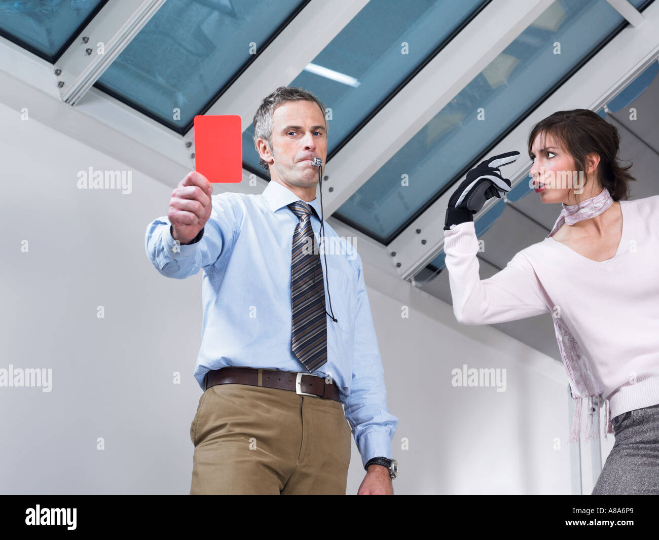 Manager with a red card - Stock Image