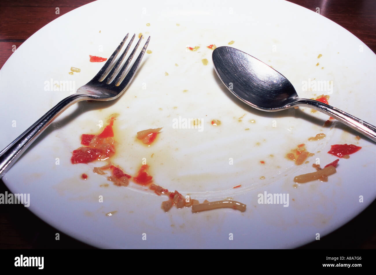 Finished plate of spaghetti - Stock Image