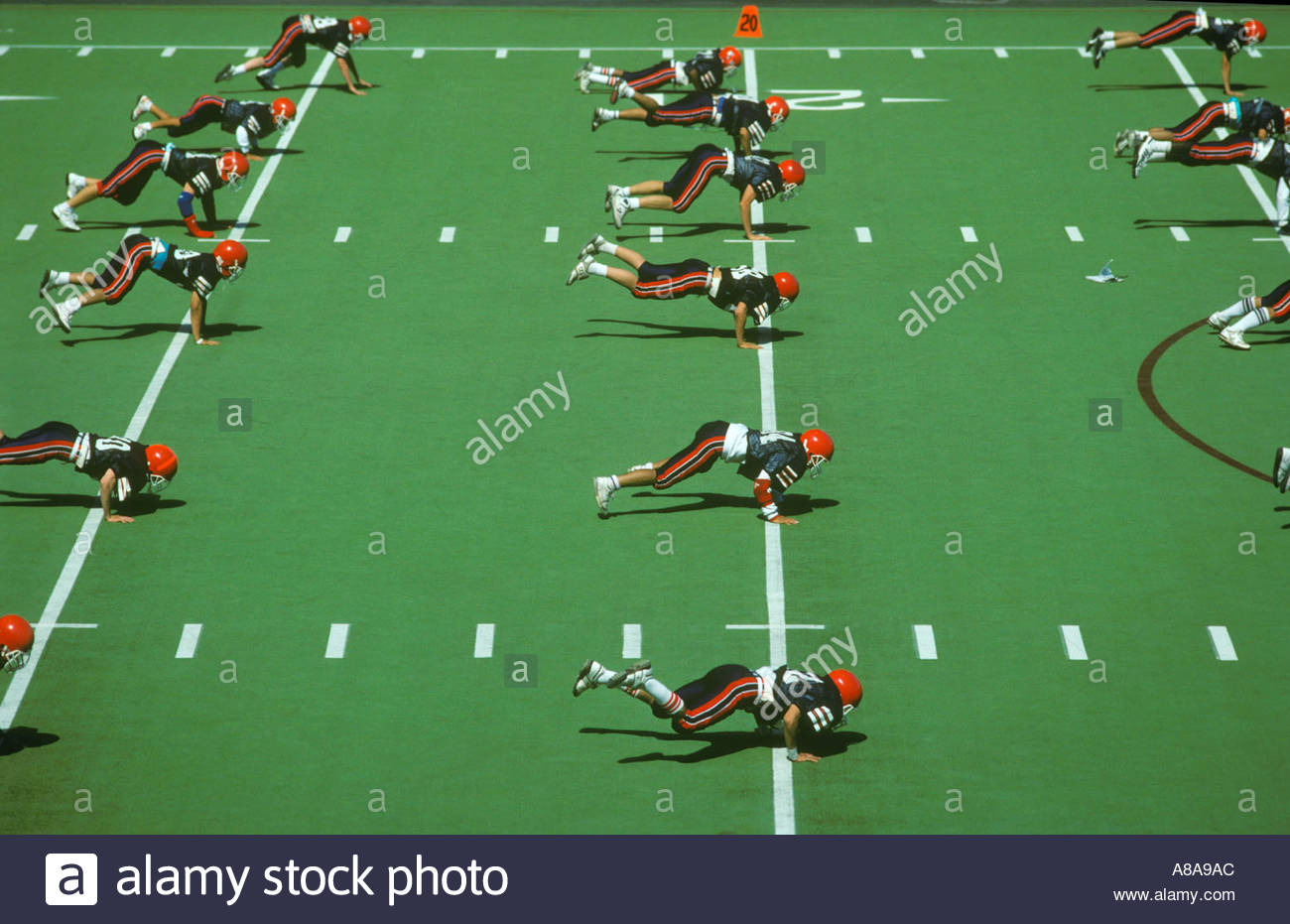 High school Football practice Seatlle Washington on Astroturf Stock Photo