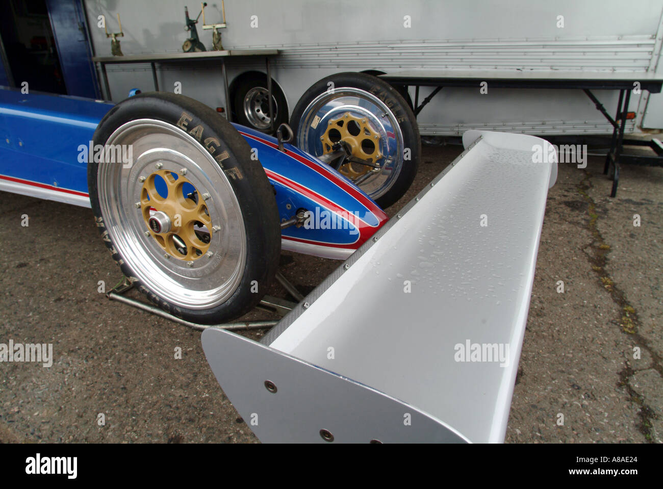 front wing of a top fuel dragster aerofoil wing downforce aerodynmanic - Stock Image