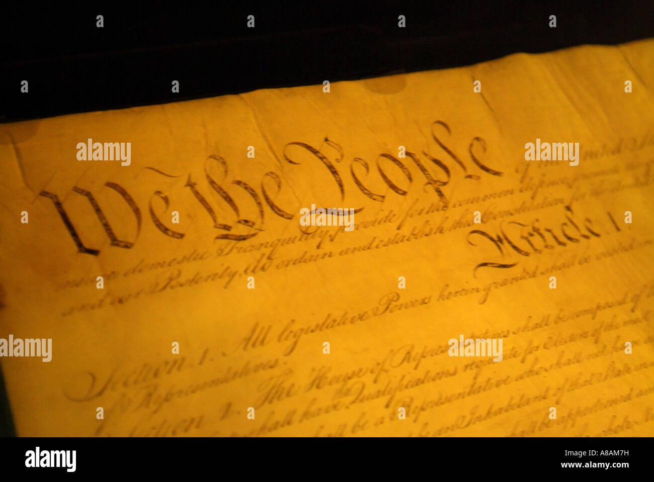 USA Washington DC The National Archives Rotunda Constitution - Stock Image
