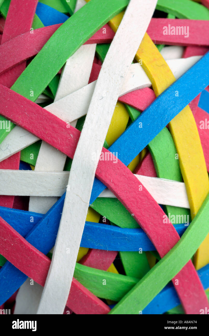 Coloured rubber bands - Stock Image