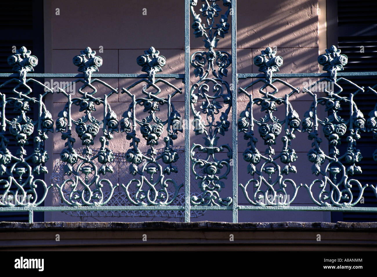 Detail of intricate WROUGHT IRON BALCONY RAILING in the ...
