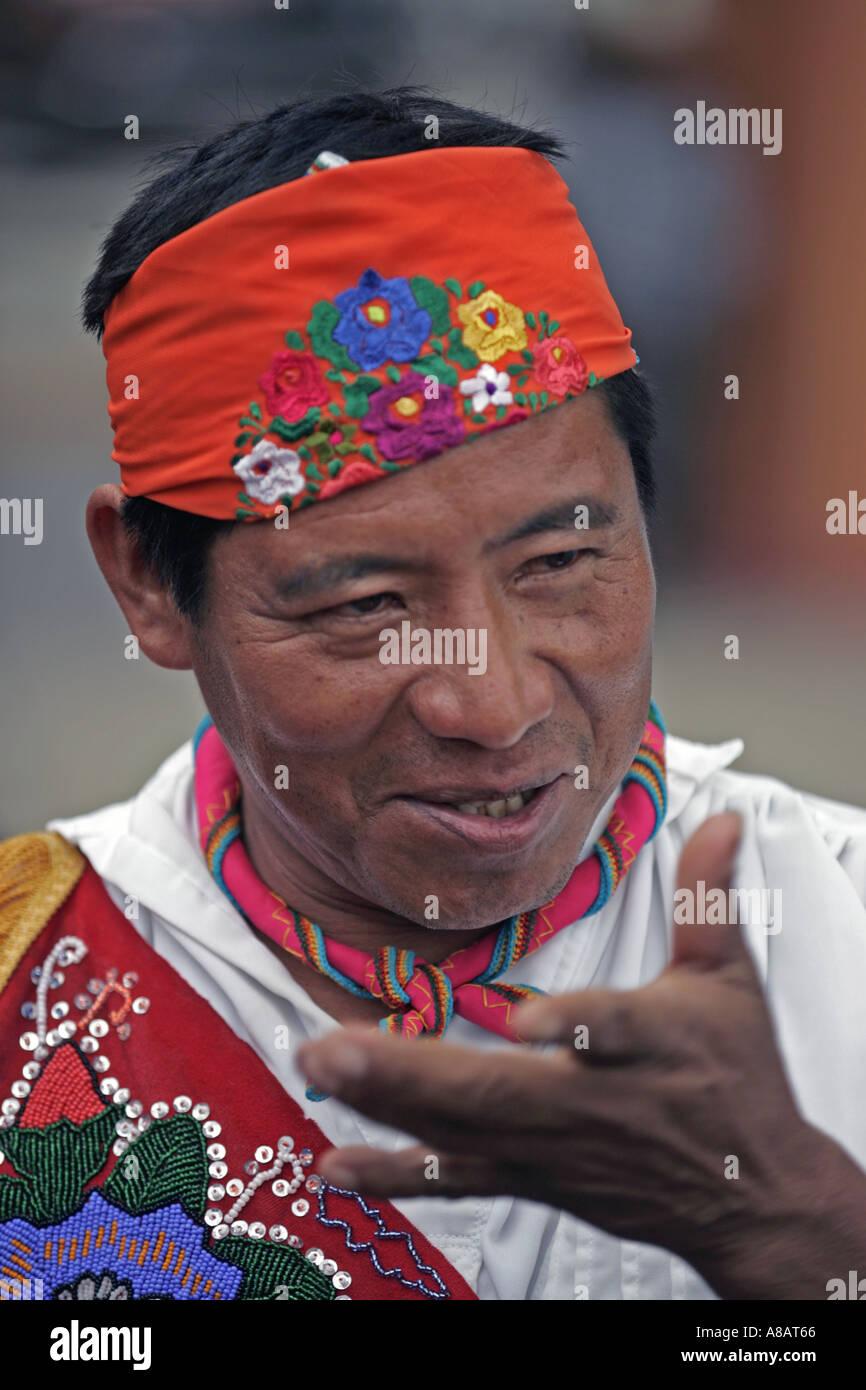 A member of Los Voladores de Papantla a group performing traditional Mexican Indian ceremonies in Tule Mexico - Stock Image