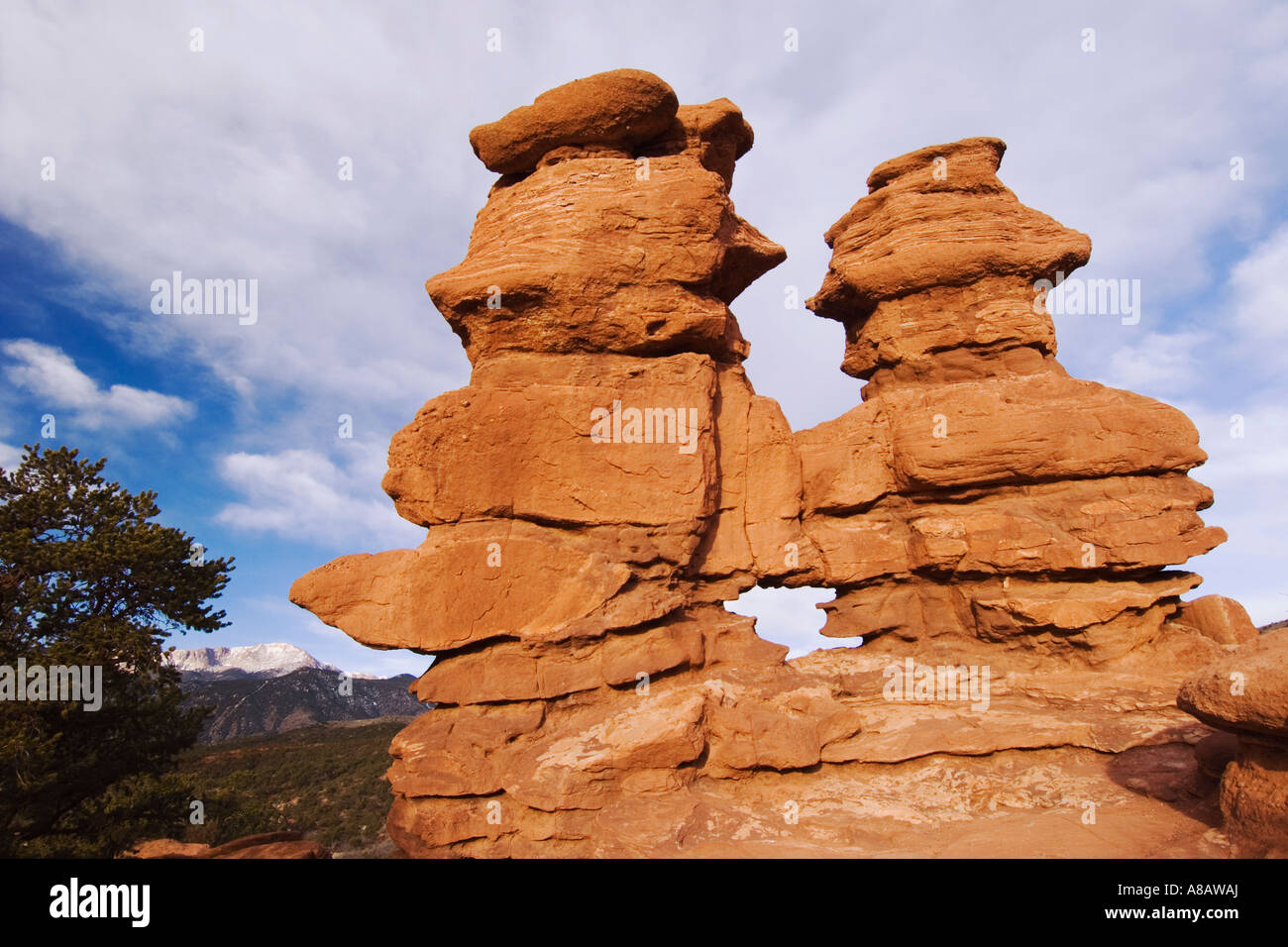 Siamese Twins Rock formation and Pikes Peak Garden of The