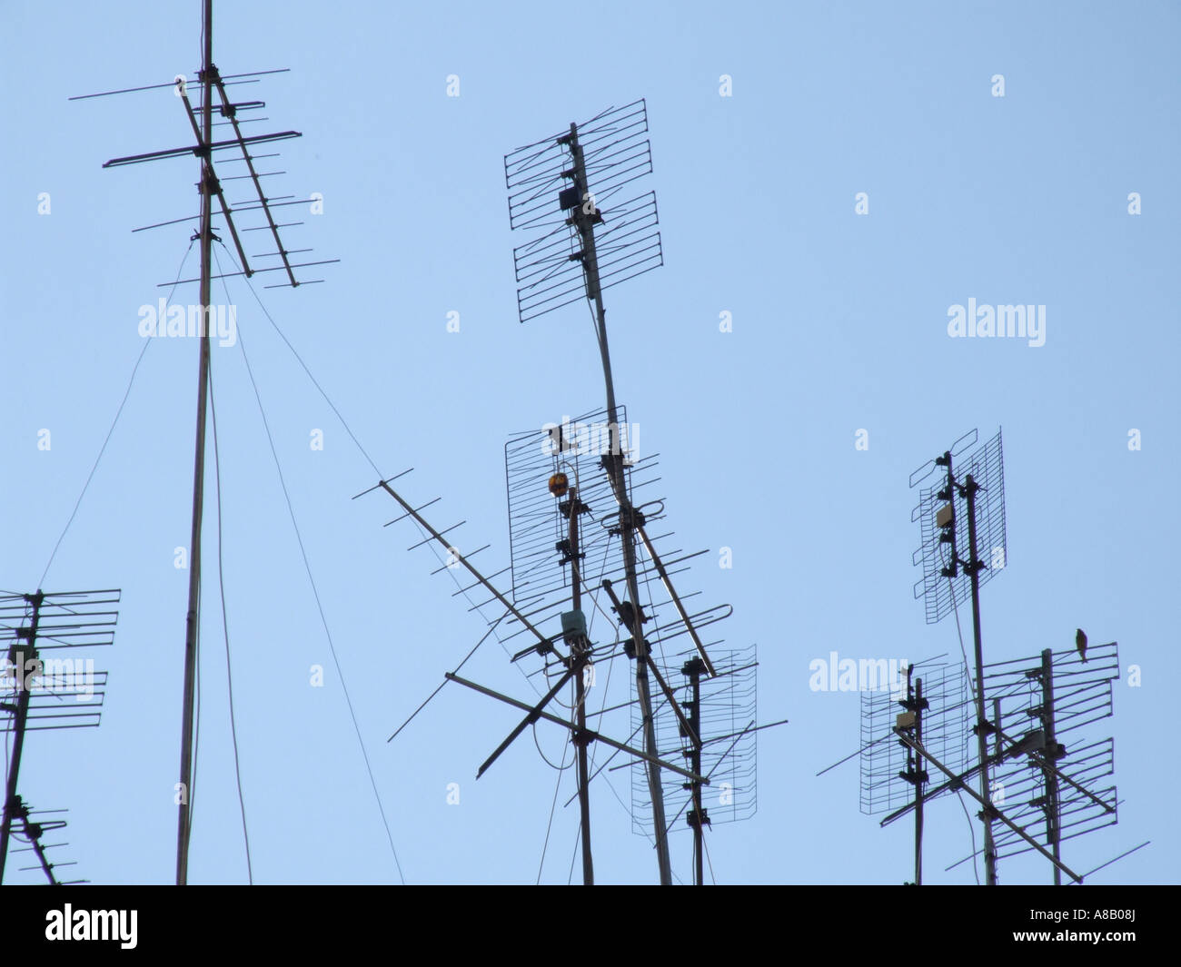tv aerials on rooftop Stock Photo