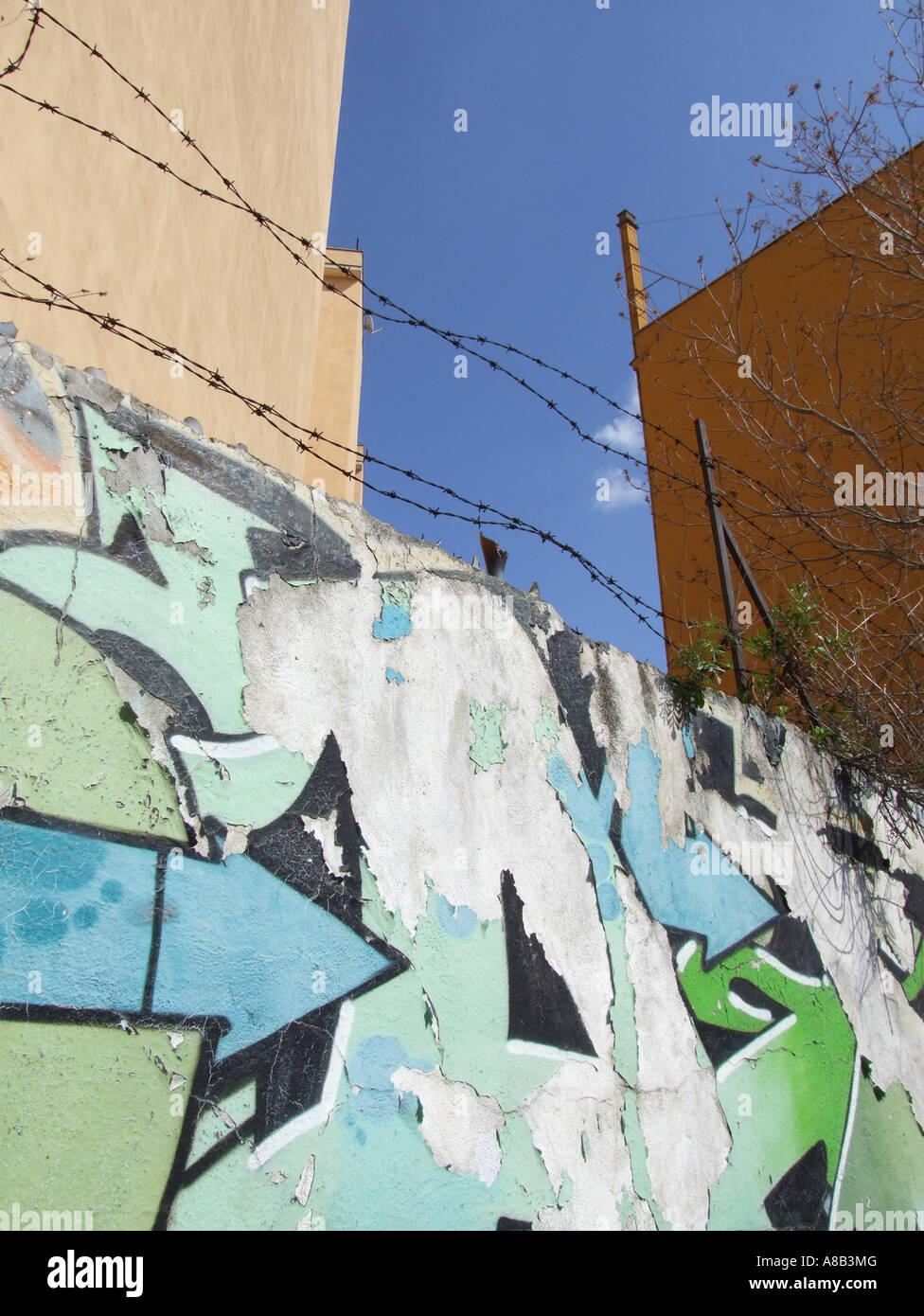 Graffiti in the san lorenzo area of rome italy