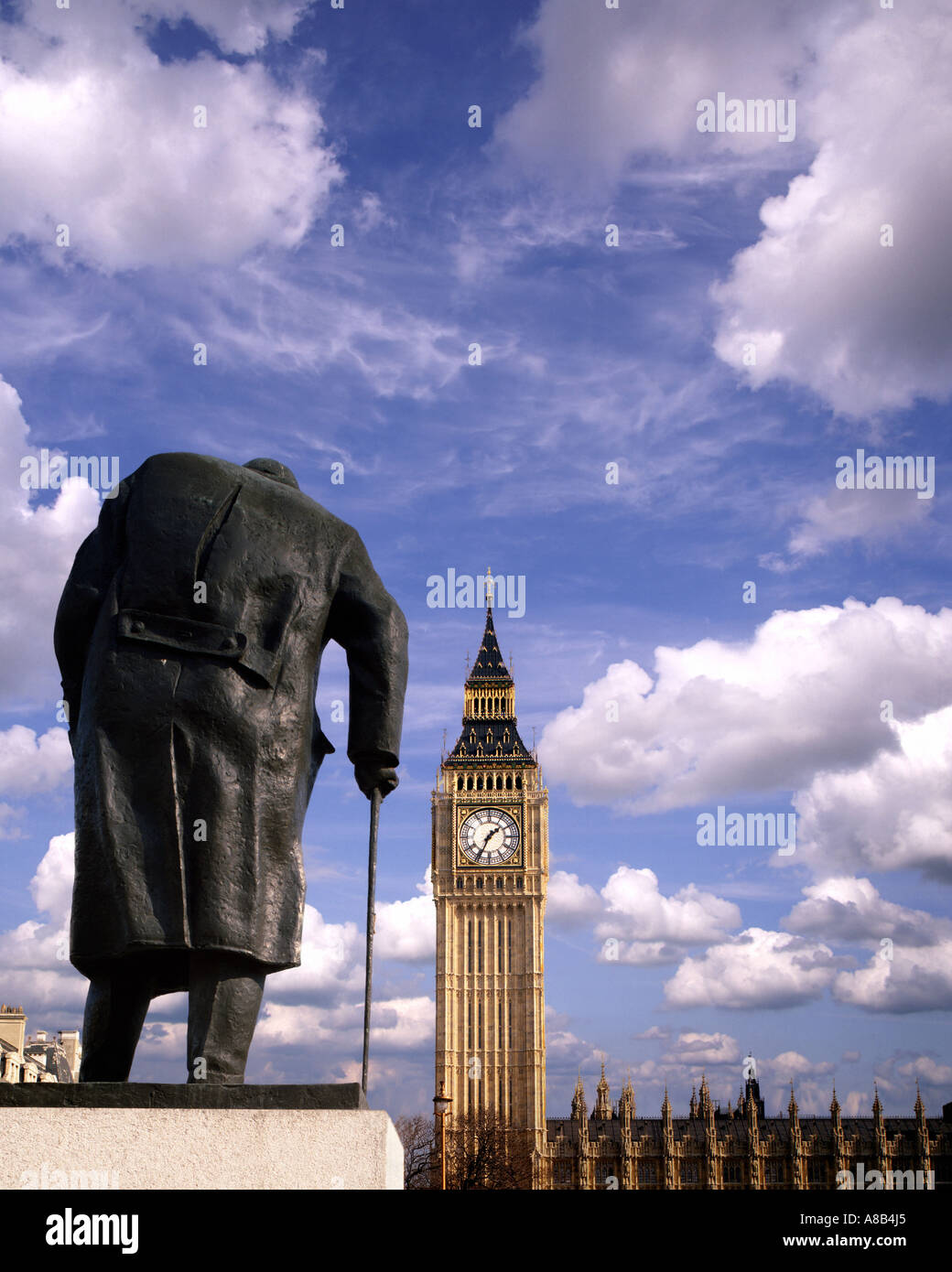 GB - LONDON:  Statue of Sir Winston Churchill at Parliament Square - Stock Image
