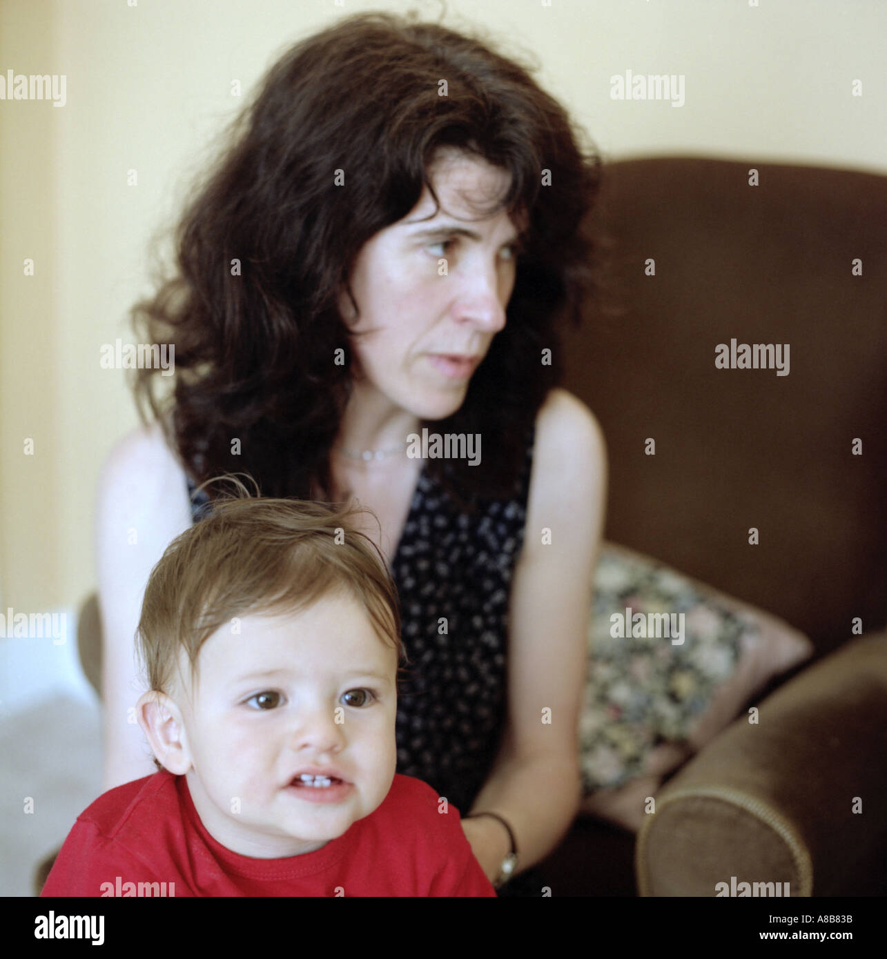 Single mother and son - Stock Image