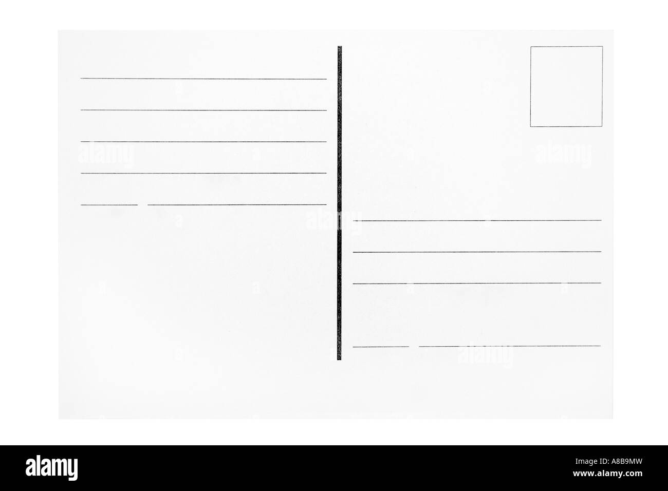 Customizable blank postcard isolated on a white background  - Stock Image