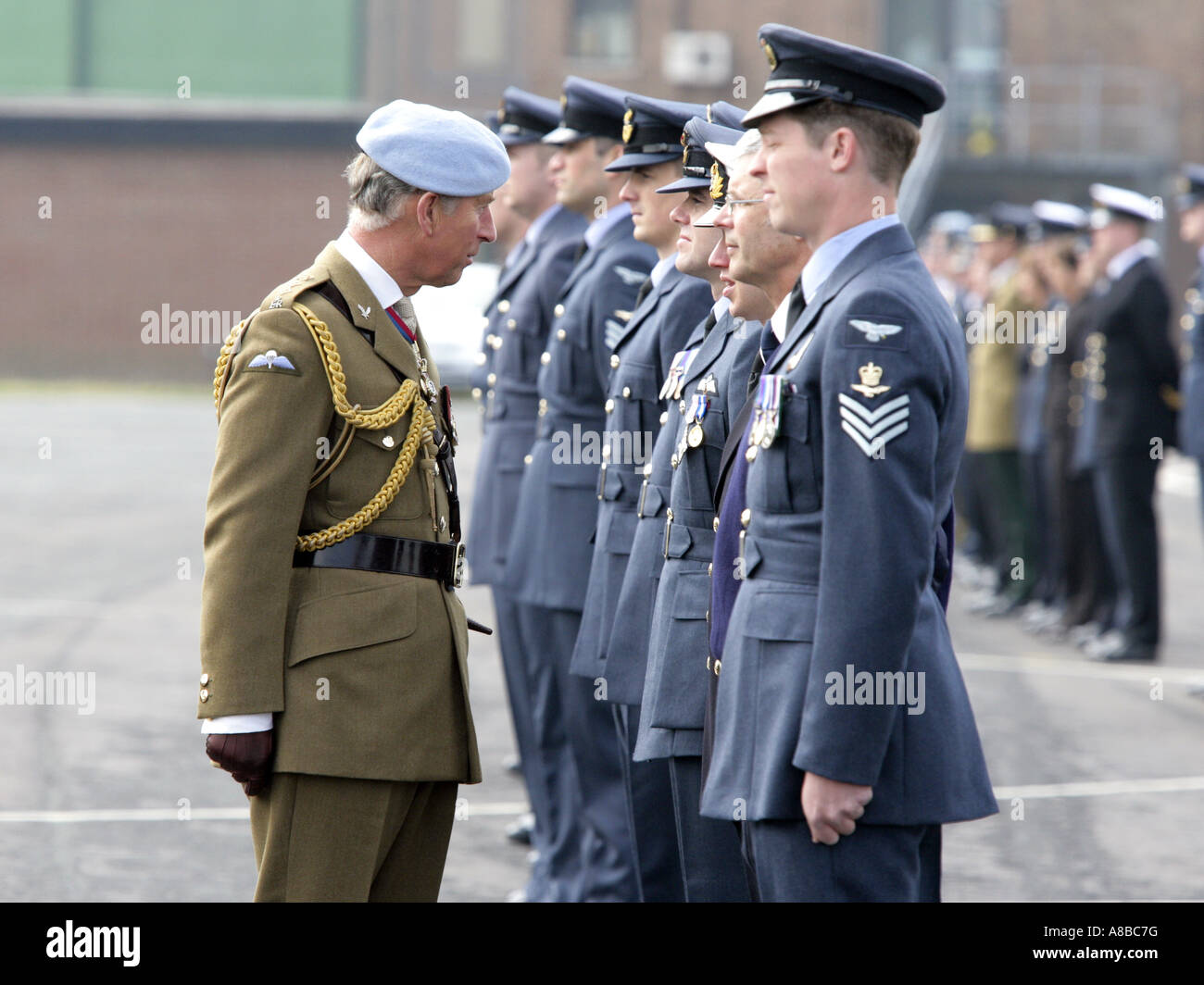 HRH Prince Charles, The Prince of Wales inspects officers at RAF Shawbury, the Helicopter Flying School Stock Photo